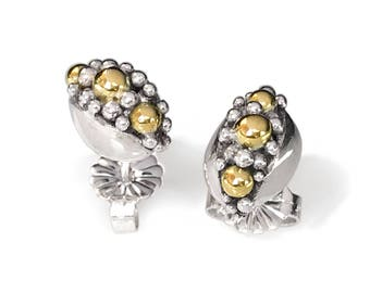 Modern silver and gold stud earrings. Contemporary fine jewelry. Precious Gift. Sterling Silver with Rose Gold beads.