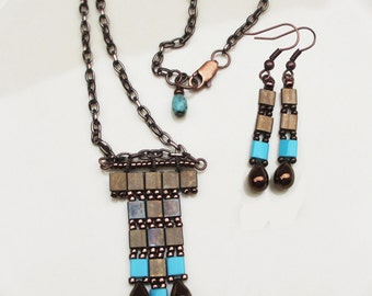 Bronze and Turquoise Tila Pendant and Earring Set