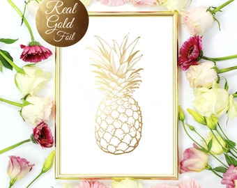 Gold Pineapple Print, Gold Pineapple Wall Art, Minimalist Art Print, Real Gold Foil, Modern Home Decor, Gold Fruit, 8x10 Print.