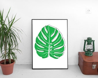Digital Print, Tropical Leaf, Monster Leaf Print, Palm Leaf, Poster, Instant Download, Wall Decor
