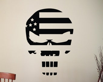 Punisher Skull Wall Decal Superhero Stickers Home Interior Design Bedroom Wall art Murals Removable Stickers 7puzz