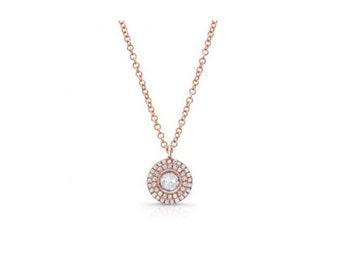 14KT White Gold Rose Cut Diamond Pendant