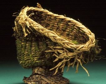 Fiber Art, Woven Sculpture, Art Basket, Wicker Woven, Textural Green Brown, Wild Squiggle. Free Shipping