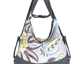 Convertible bag, Multicolour hobo, Slush shoulder bag,Women backpack,Backpack purse,Vegan hobo bag,Convertible backpack,Grey hobo purse,