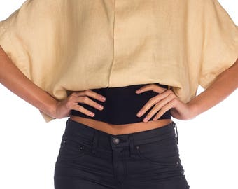 1980s Gianfranco Ferre Linen Belted Top Size: M