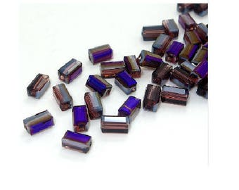 Set of 20 beads crystal glass rectangles purple 8 mm
