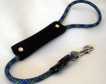 Short Dog Leash - 2 Foot - Traffic Handle - 8mm Purple & Neon Green Climbing Rope - Handle - Climbing Rope Dog Leash - Leash - READY TO SHIP