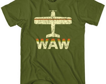 Fly Warsaw WAW Airport T-shirt - Men and Unisex - XS S M L XL 2x 3x 4x - Warsaw Chopin Airport Tee - 2 Colors