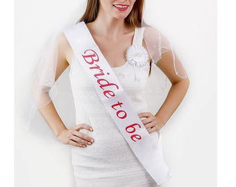 6 piece Bachelorette Party Set, includes Bride To Be Rhinestone Tiara, Bride to be Satin Sash, Glasses, Two layered veil, Badge and Garter