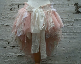 Tattered Bustle Skirt Woman's Clothing Mori Girl Upcycled Pink Blush Ivory White Lace Tribal Cotton Lace Layers