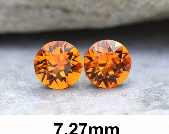 7.27mm Studs, Tangerine Earrings, Swarovski Xirius, Rhinestone Stud Earrings, Swarovski Tangerine, Stud Earrings, Orange Crystal Earrings