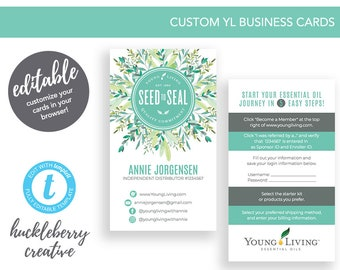 Young Living Business Cards, Young Living Essential Oils, 3.5x2, Easy Edits & Download in Minutes!