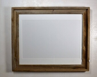 Rustic wood frame 12x18 white mat  fits 11x14,12x16,11x17 or 12x18.