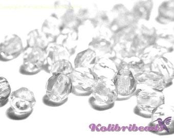 Fire polished Czech Glass Beads 4 mm - Crystal