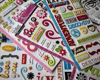 De-Stashing Sale: Chipboard Embellishments Stickers, Scrapbooking, Card Making, Mixed Media, Collage, Tag Making, Banners, Planners and more