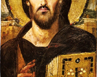 Fine Art Print of a Byzantine Icon. Christ Pantokrator, (Lord of the Universe), 6th Century. Fine Art Print