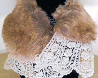 MUST GO Vintage Wrap with Faux Fur and Lace, Ribbon Tie Closure, see all photos