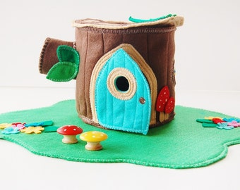 Child Christmas Gift Woodland Cozy Log Cottage - Tree Stump House - Doll House - Felt Toy - Unique Gift - Zooble Toy
