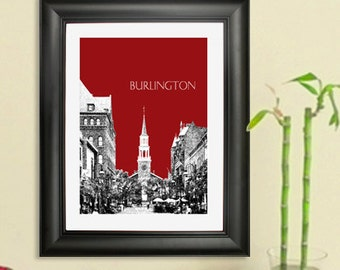 Burlington Vermont Skyline - Burlington Skyline Poster - Art Print