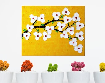 "Acrylic painting original  abstract wall art canvas art modern art with textured impasto flowers done using palette knife 20""x16"""