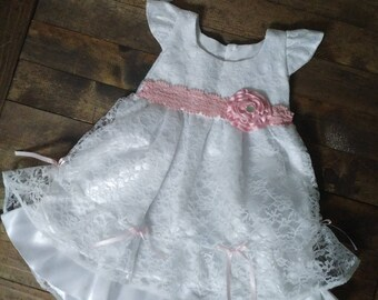 baby blessing dress, lace blessing dress, christening dress, baptism dress, white baby dress, baby girl dress, baby dress