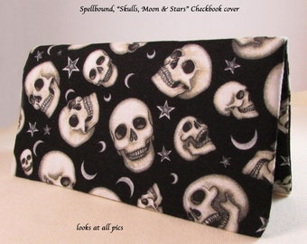 Spellbound Skulls Moons and Stars Checkbook Cover - Coupon Holder - Skulls Check Book Cover - Goth Checkbook Cover - Gothic Design Checkbook
