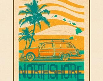 Art Print North Shore Retro Surf