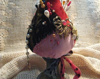 Strawberry Pincushion/ Cone Pin Keep/ Vintage Crazy Quilt Pin Cushion/ Vintage Jewelry/ Vintage Twisted Art Glass Hat Pins/ MOP Buttons