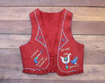 Vintage Child's Cowboy Vest, Wool Cowboy Vest, Red Vest