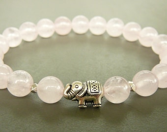 Rose Quartz Bracelet, Elephant Bracelet, Women Beaded Bracelet, Natural Rose Quartz bracelet, White stretch bracelet, Natural Stones