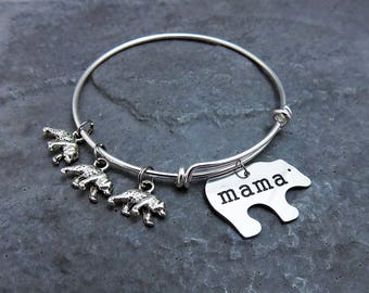 Mama Bear Charm Bracelet Mothers Day Gift for Her - You Choose Bangle Style and Baby Bears - Custom Personalized Jewelry Momma New Mom