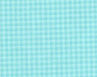 Stitched Garden Turquoise Gingham Fabric