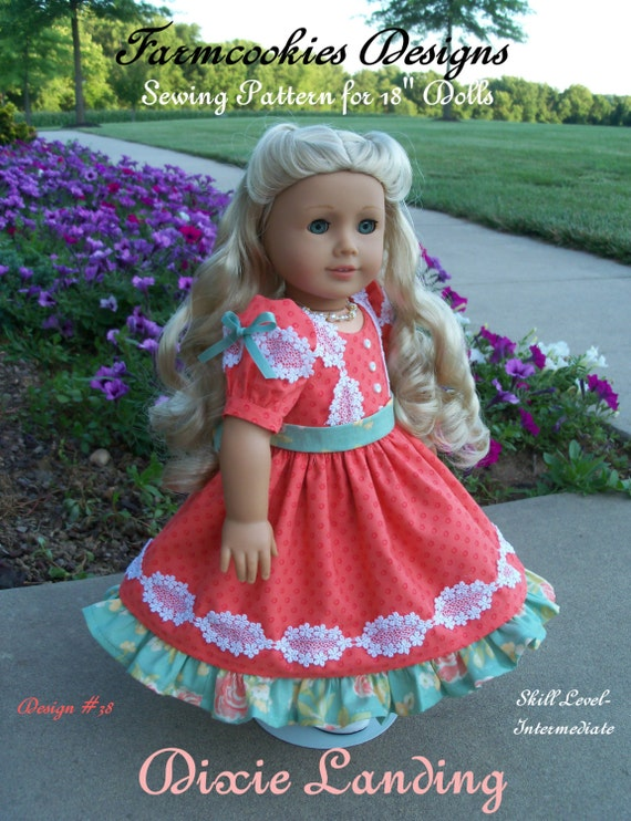 """PRINTED Sewing Pattern / DIXIE LANDING / Mid-1800's Gown Fits  American Girl® or Other 18"""" Doll"""