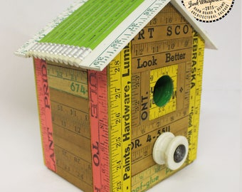 Vintage Yardstick Reclaimed Wood Reuse Repurposed Pink and Green Staedtler Pencil Birdhouse Made by Hand by Junkwhisperer.com