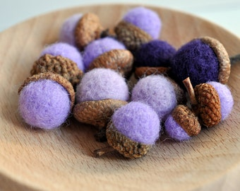 Felted Acorns  Set of 12