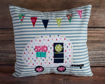 Camper Pillow COVER ONLY. Camping decor. Glamping decor. Blue Ticking Stripe Pillow. Camping Pillow. Pillows with Campers. Vintage Camper