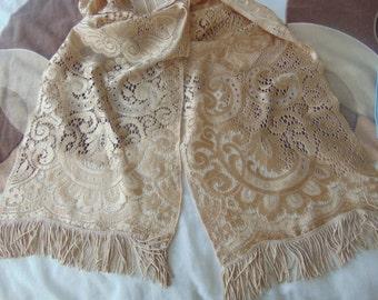 Vintage 1920 runner/scarf for table,piano,dresser,chest,tassels,silky ,6ft