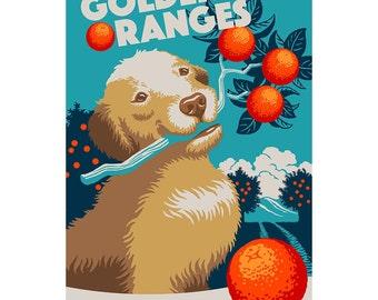 Golden Retriever Dog Oranges Wall Decal - #60999
