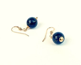 Lapis Earrings, Gold Gemstone Earrings, Dark Blue Earrings, Gemstone Jewellery, Delicate Earrings, Elegant Earrings, Lapis Lazuli