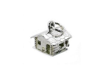 Sterling Silver Opening Swiss Ski Lodge Charm For Bracelets
