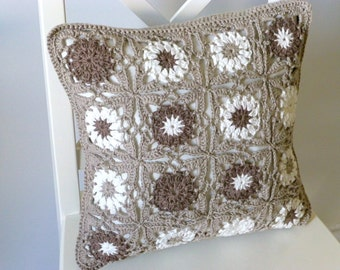 Neutral crochet cushion cover, organic cotton cushion cover, removable cushion cover, decorative pillow, eco friendly, living room cushion