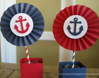 "2- 6"" Nautical Rosettes Centerpieces 