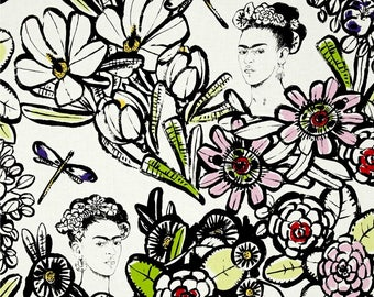 Cactus Flower Natural Frida Kahlo Folklorico CollectionBy Alexander Henry Fabrics