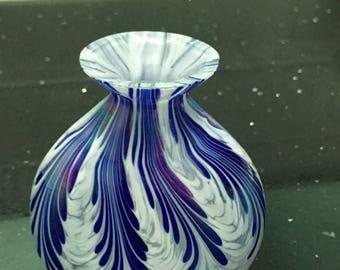 Quality glass Vintage Vase - Cobalt Blue & iridescent white  (feathered)