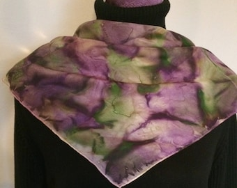 A beautiful lighter 100% silk scarf morning dew with unique handmade design