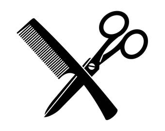 Hairstylist Logo #5 Comb Scissors Salon Barber Shop Haircut Hair Cut Hairstyle Hairdresser Grooming .SVG .EPS .PNG Vector Cricut Cut Cutting
