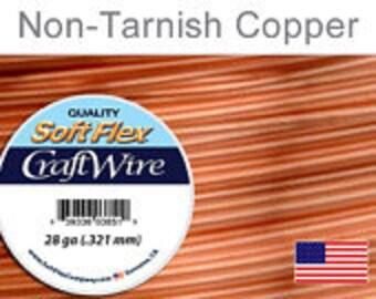 28 Gauge Non Tarnish Copper Wire, Soft Flex, Round, Supplies, Findings, Craft Wire