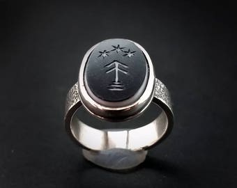 Tree and Stars Onyx Intaglio Ring Made to Order