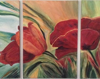 "Tulips and Poppy, original acrylic painting, 3 x 12"" x 16"""