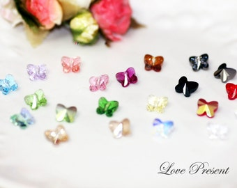 Swarovski Crystal Stud Beautiful Butterfly Earrings - Choose your color - Hypoallergenic or Metal post - Choose your post